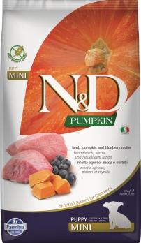 Farmina N&D GF PUMPKIN для щенков MINI ягненок с черникой и тыквой